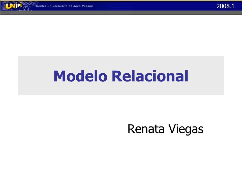 2008.1 Modelo Relacional Relacionamento N : 1 sem atributos Chave da Entidade 1 na Tabela da Entidade N – Os relacionamentos N:1 que não têm atributos não se transformam em tabelas – A chave da entidade que está na extremidade 1 do relacionamento deve ser incluída como coluna na tabela da entidade que está na extremidade N (Chave Estrangeira)