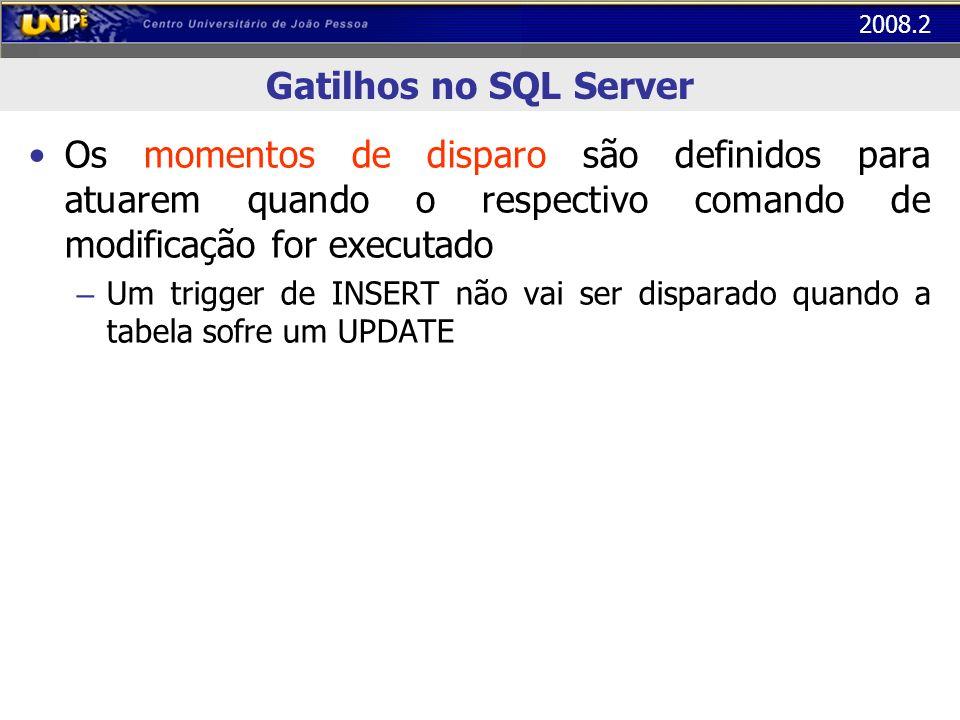 2008.2 Gatilhos no SQL Server Os momentos de disparo são definidos para atuarem quando o respectivo comando de modificação for executado – Um trigger