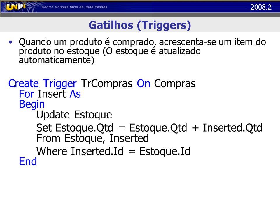 2008.2 Gatilhos (Triggers) Quando um produto é comprado, acrescenta-se um item do produto no estoque (O estoque é atualizado automaticamente) Create T