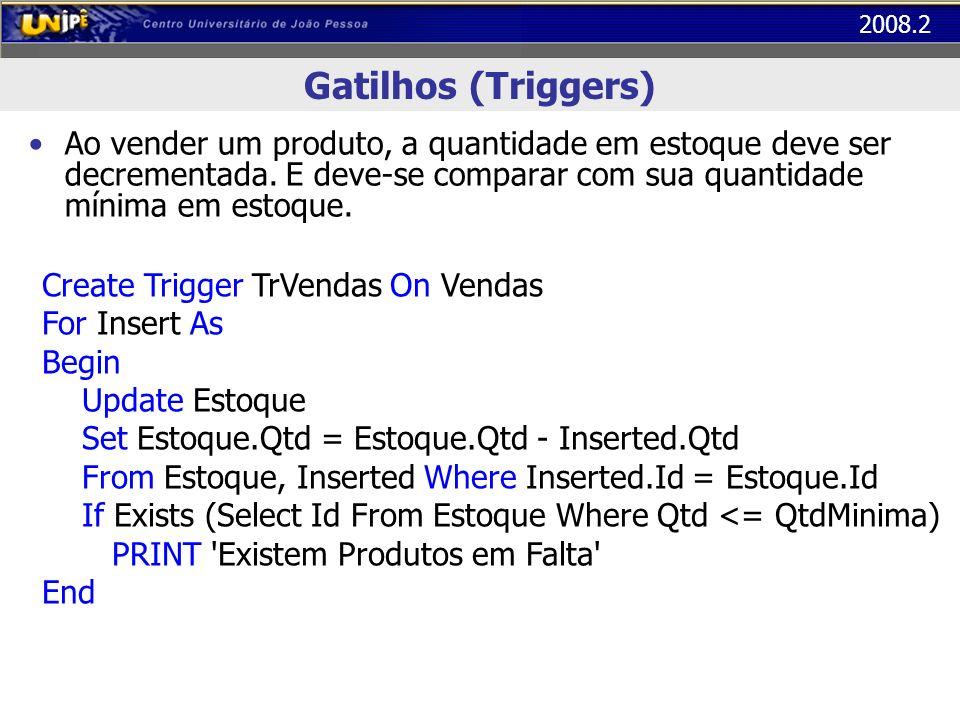 2008.2 Gatilhos (Triggers) Ao vender um produto, a quantidade em estoque deve ser decrementada. E deve-se comparar com sua quantidade mínima em estoqu