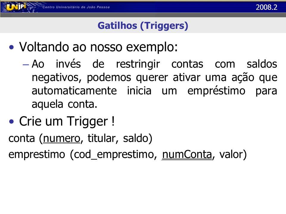 2008.2 Gatilhos (Triggers) Voltando ao nosso exemplo: – Ao invés de restringir contas com saldos negativos, podemos querer ativar uma ação que automat