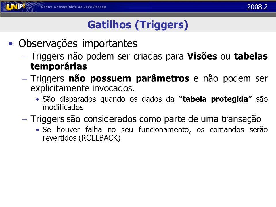 2008.2 Gatilhos (Triggers) Observações importantes – Triggers não podem ser criadas para Visões ou tabelas temporárias – Triggers não possuem parâmetr