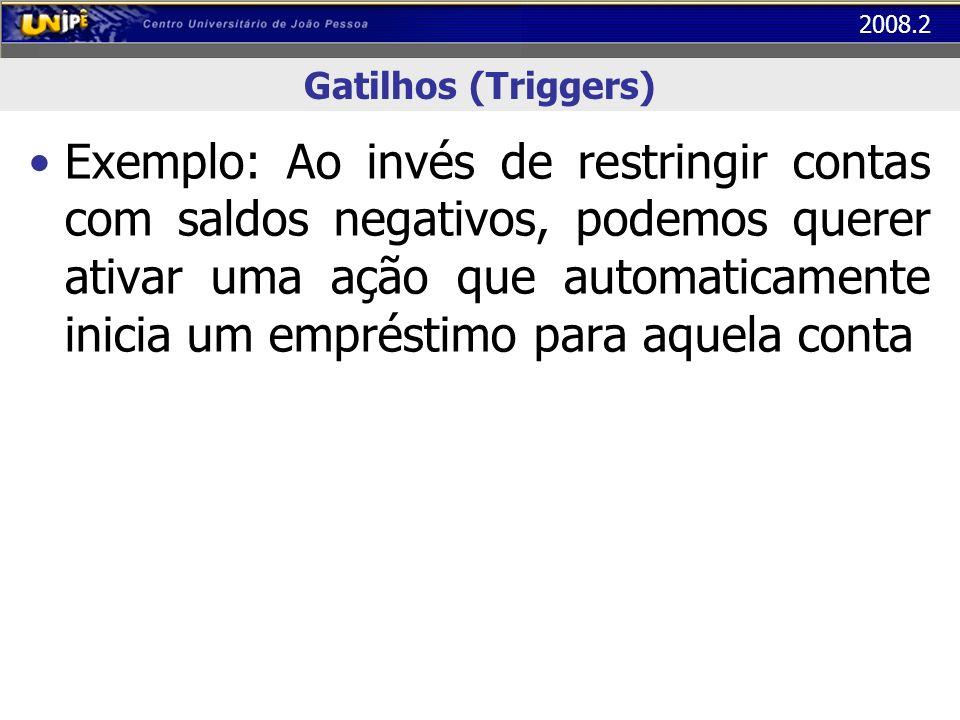 2008.2 Gatilhos (Triggers) Exemplo: Ao invés de restringir contas com saldos negativos, podemos querer ativar uma ação que automaticamente inicia um e