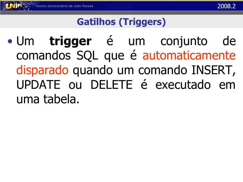 2008.2 Gatilhos (Triggers) Um trigger é uma regra do tipo E_C_A: – E: Evento – C: Condição a ser satisfeita na presença do evento E – A: Ação a ser tomada caso a condição C seja satisfeita