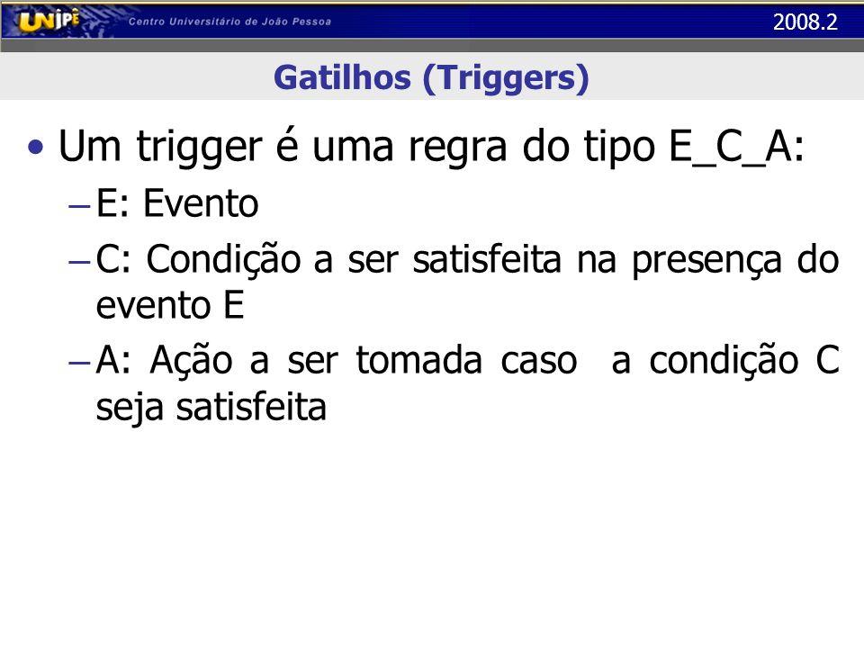2008.2 Gatilhos (Triggers) Um trigger é uma regra do tipo E_C_A: – E: Evento – C: Condição a ser satisfeita na presença do evento E – A: Ação a ser to