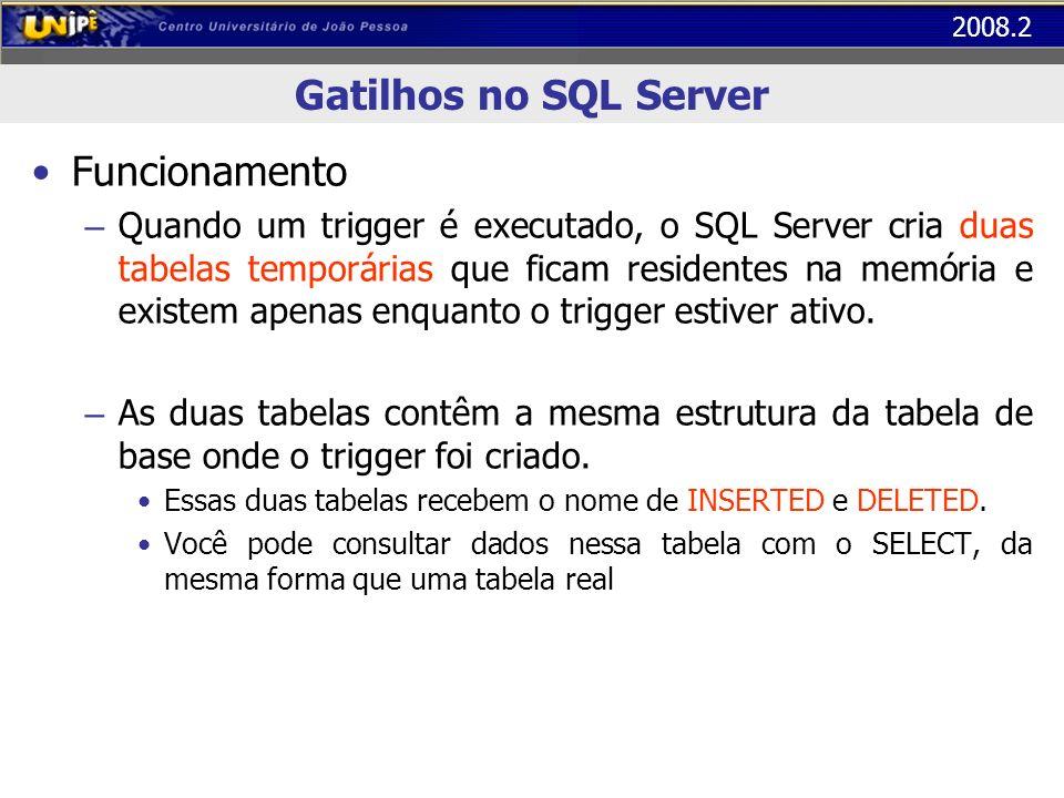 2008.2 Gatilhos no SQL Server Funcionamento (cont.) – Quando um comando INSERT é executado, o registro criado será copiado para a tabela de base e para a tabela INSERTED.