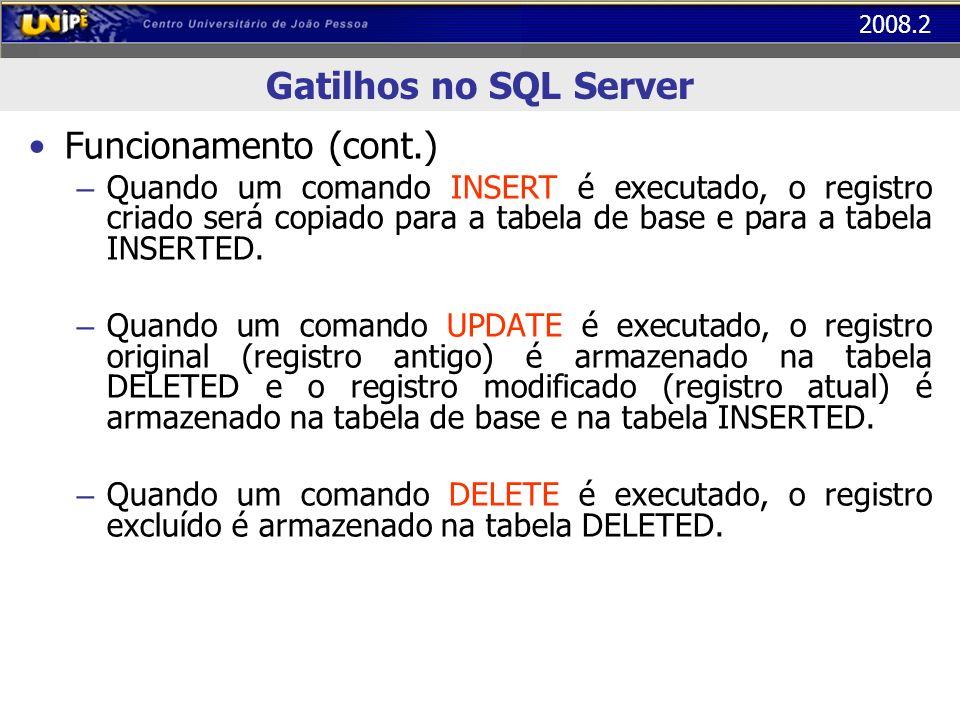 2008.2 Gatilhos no SQL Server Funcionamento (cont.) – Quando um comando INSERT é executado, o registro criado será copiado para a tabela de base e par