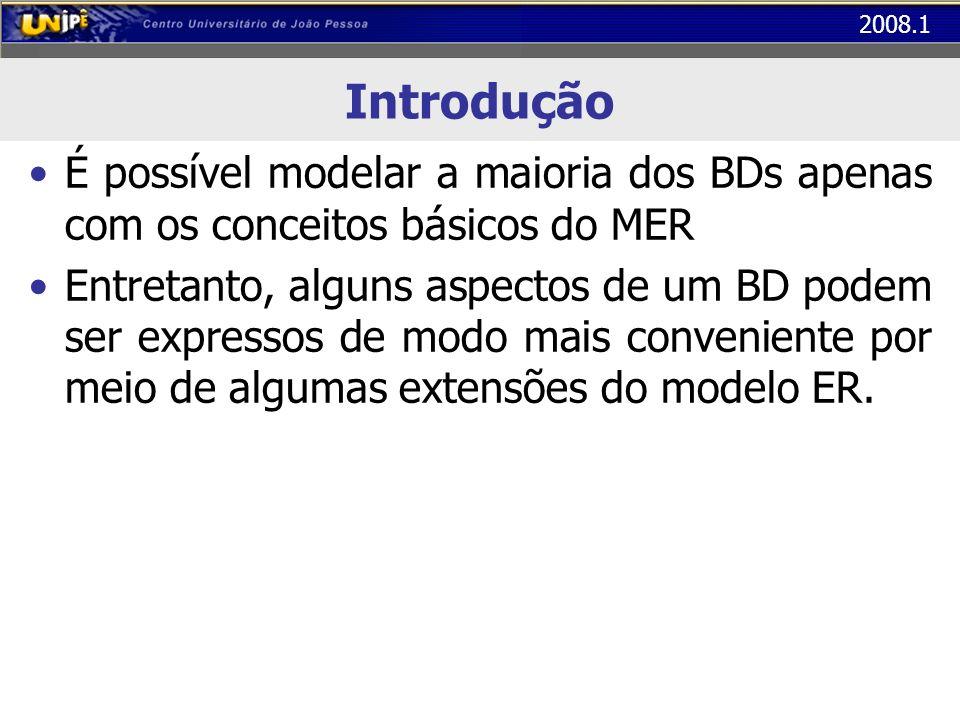 2008.1 Introdução É possível modelar a maioria dos BDs apenas com os conceitos básicos do MER Entretanto, alguns aspectos de um BD podem ser expressos