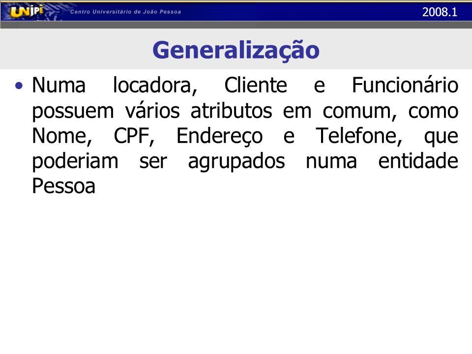 2008.1 Generalização Numa locadora, Cliente e Funcionário possuem vários atributos em comum, como Nome, CPF, Endereço e Telefone, que poderiam ser agr