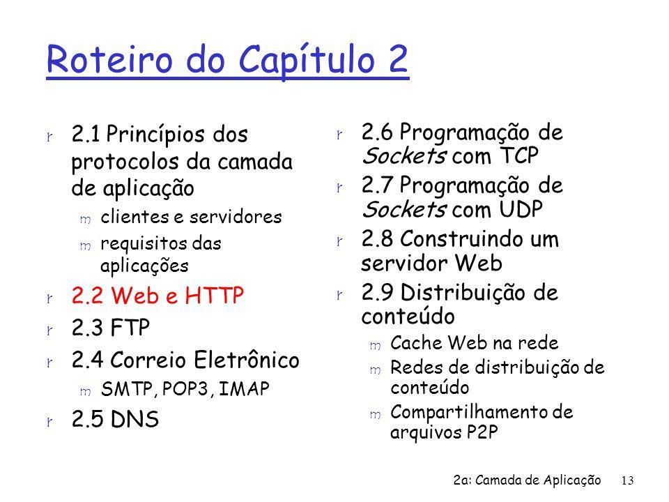 2a: Camada de Aplicação13 Roteiro do Capítulo 2 r 2.1 Princípios dos protocolos da camada de aplicação m clientes e servidores m requisitos das aplica
