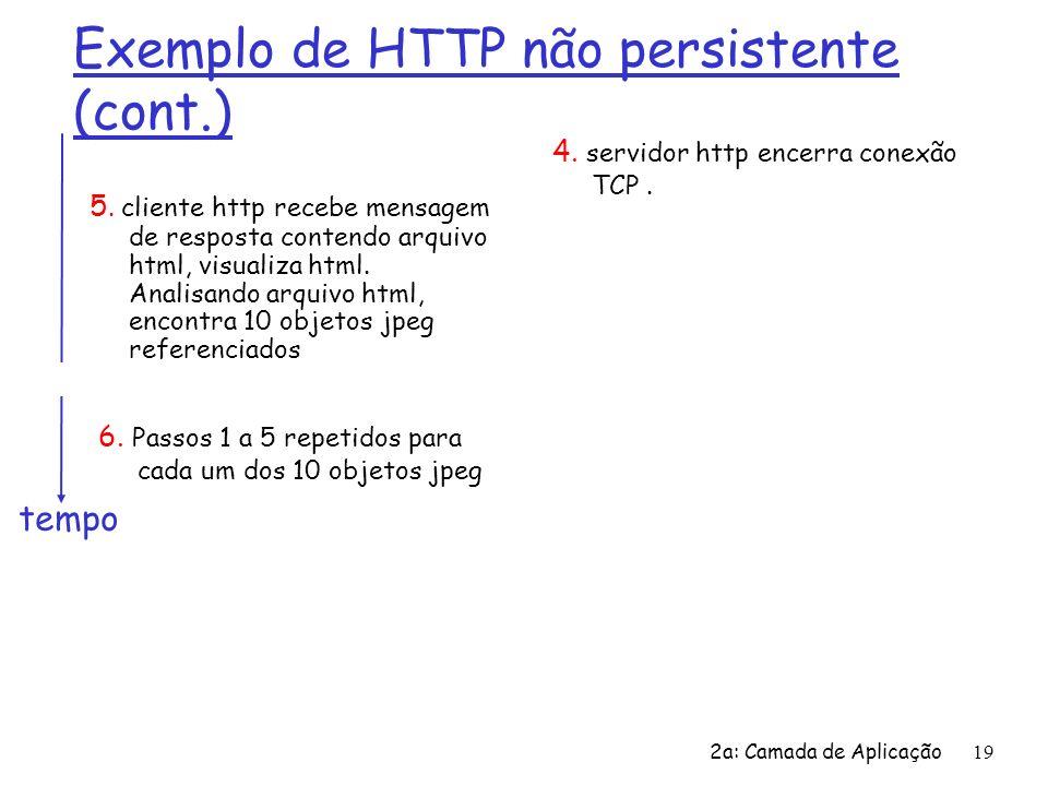 2a: Camada de Aplicação19 Exemplo de HTTP não persistente (cont.) 5. cliente http recebe mensagem de resposta contendo arquivo html, visualiza html. A