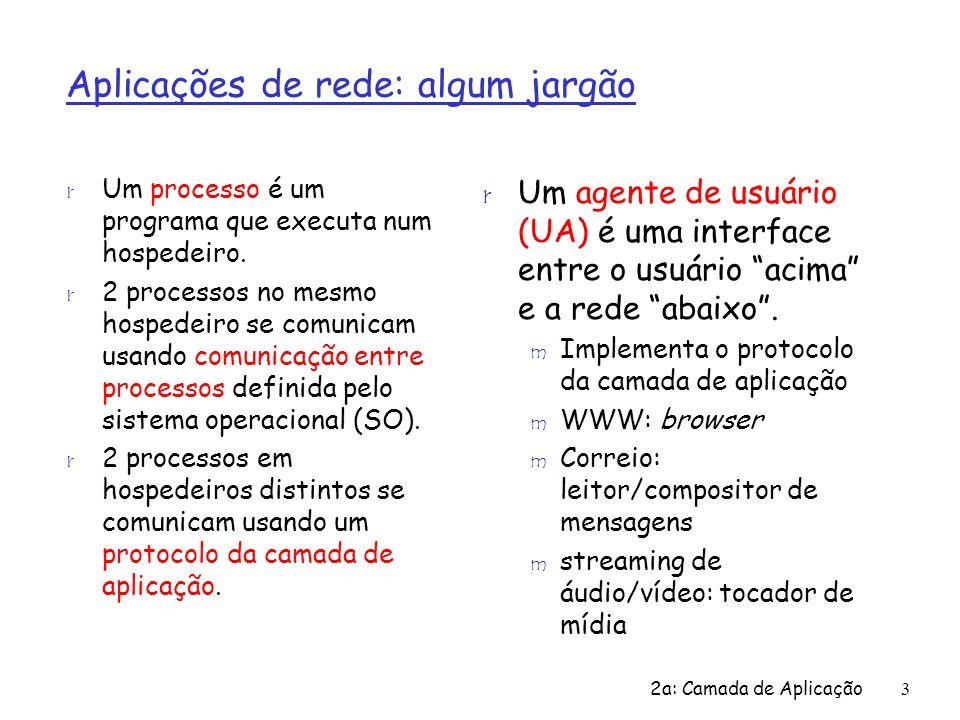 2a: Camada de Aplicação3 Aplicações de rede: algum jargão r Um processo é um programa que executa num hospedeiro. r 2 processos no mesmo hospedeiro se
