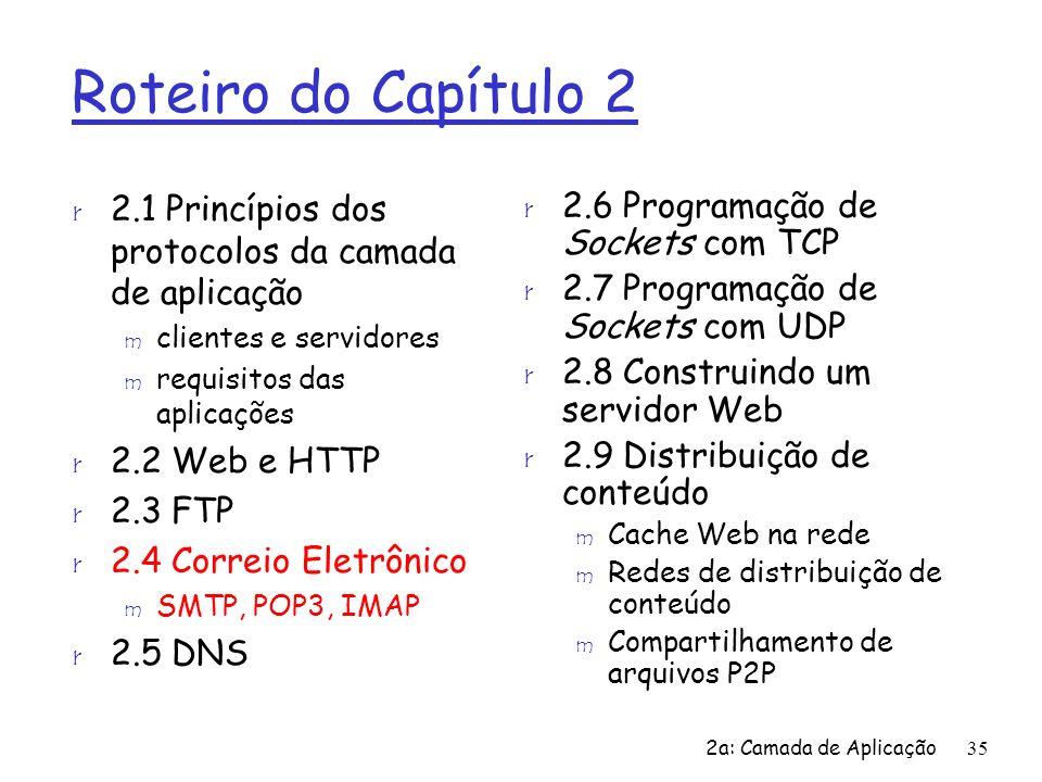 2a: Camada de Aplicação35 Roteiro do Capítulo 2 r 2.1 Princípios dos protocolos da camada de aplicação m clientes e servidores m requisitos das aplica
