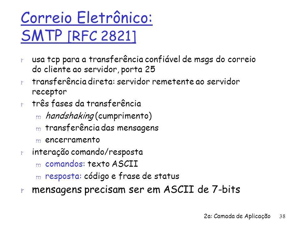 2a: Camada de Aplicação38 Correio Eletrônico: SMTP [RFC 2821] r usa tcp para a transferência confiável de msgs do correio do cliente ao servidor, port