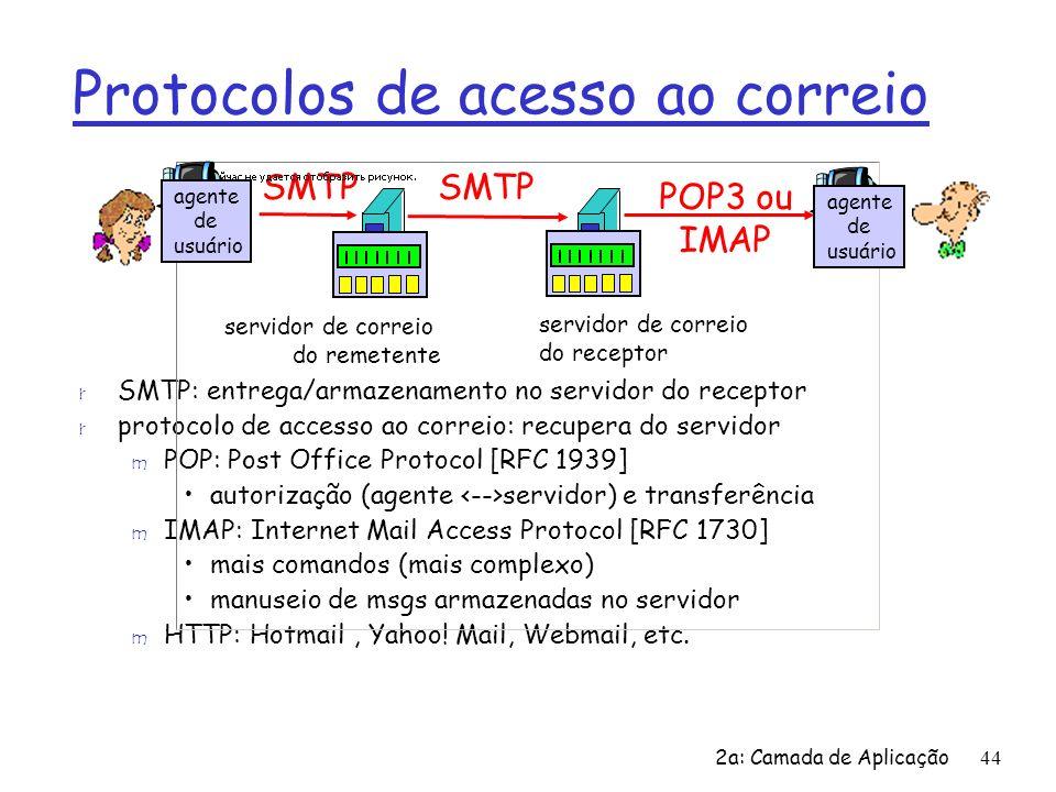 2a: Camada de Aplicação44 Protocolos de acesso ao correio r SMTP: entrega/armazenamento no servidor do receptor r protocolo de accesso ao correio: rec