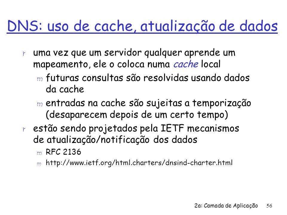2a: Camada de Aplicação56 DNS: uso de cache, atualização de dados r uma vez que um servidor qualquer aprende um mapeamento, ele o coloca numa cache lo