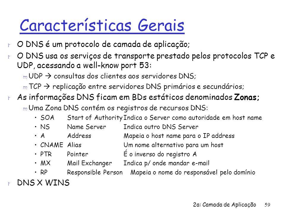 2a: Camada de Aplicação59 Características Gerais r O DNS é um protocolo de camada de aplicação; r O DNS usa os serviços de transporte prestado pelos p