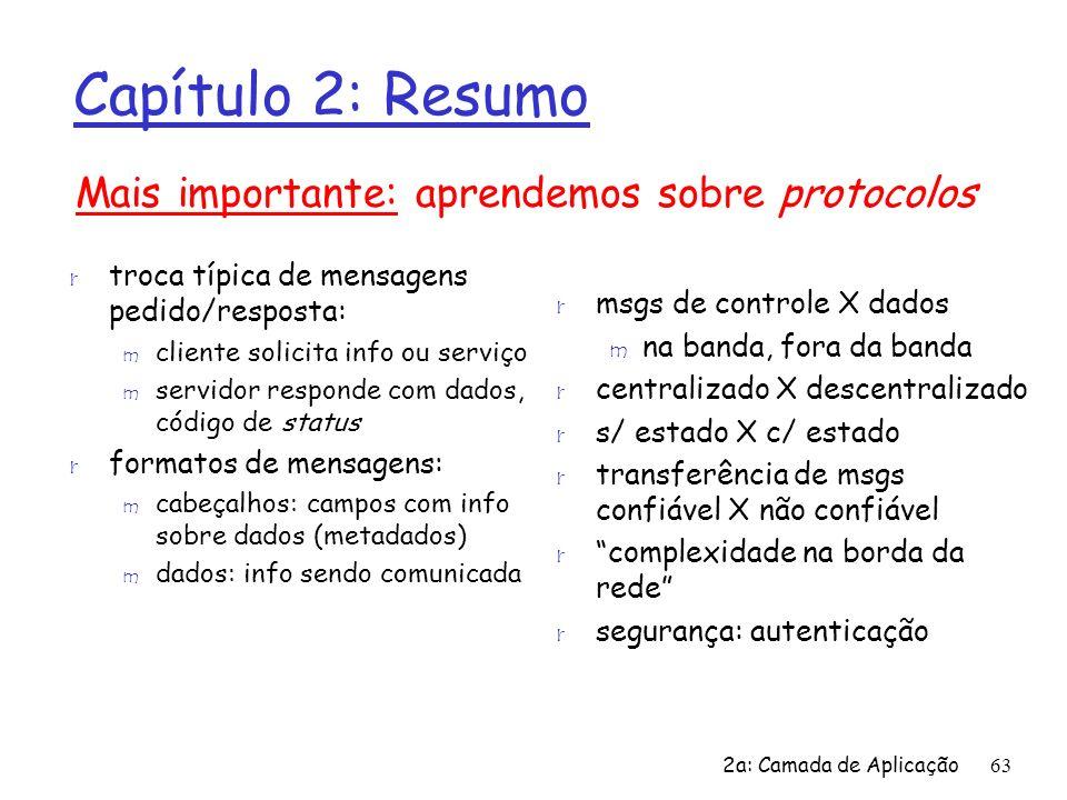 2a: Camada de Aplicação63 Capítulo 2: Resumo r troca típica de mensagens pedido/resposta: m cliente solicita info ou serviço m servidor responde com d