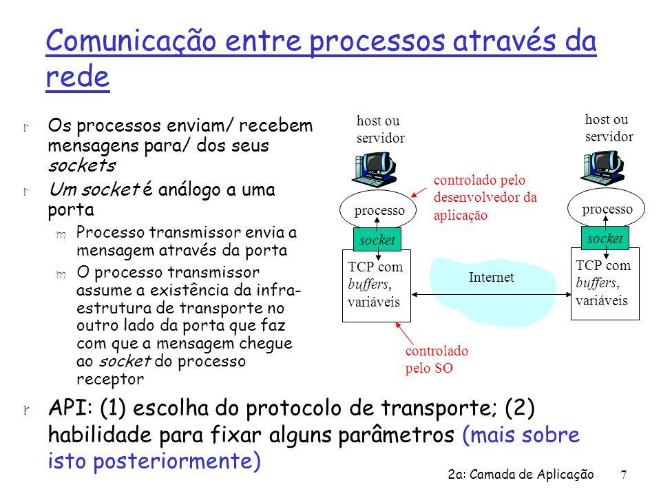 2a: Camada de Aplicação7 Comunicação entre processos através da rede r Os processos enviam/ recebem mensagens para/ dos seus sockets r Um socket é aná