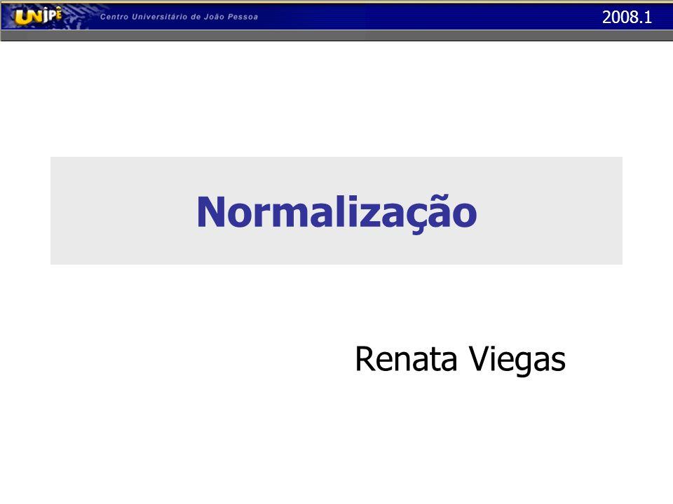 2008.1 Terceira Forma Normal (3FN) A tabela abaixo está em 2FN, mas não está em 3FN O atributo Capacidade depende do atributo Sala, e não da chave Cod_Turma COD_TURMAPROFESSORSALACAPACIDADE BD1032Bruno Pereira10150 LG1512Marina Lucena10150 JV8796Ana Barbosa10150...