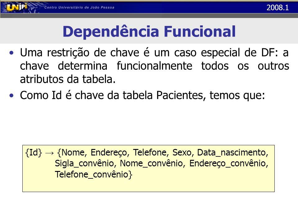 2008.1 Dependência Funcional Uma restrição de chave é um caso especial de DF: a chave determina funcionalmente todos os outros atributos da tabela. Co