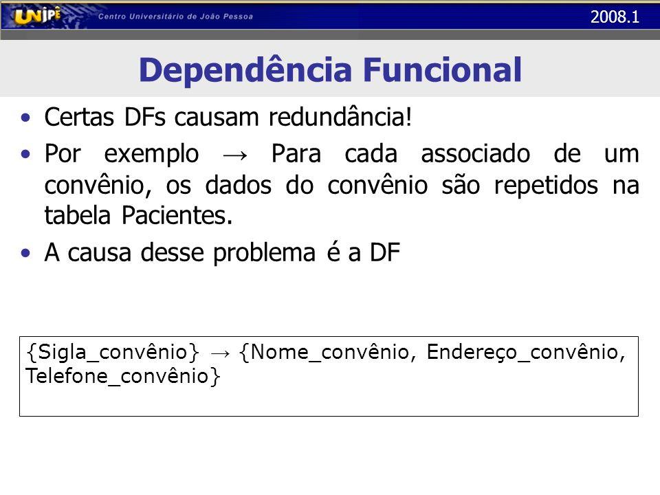 2008.1 Dependência Funcional Certas DFs causam redundância! Por exemplo Para cada associado de um convênio, os dados do convênio são repetidos na tabe