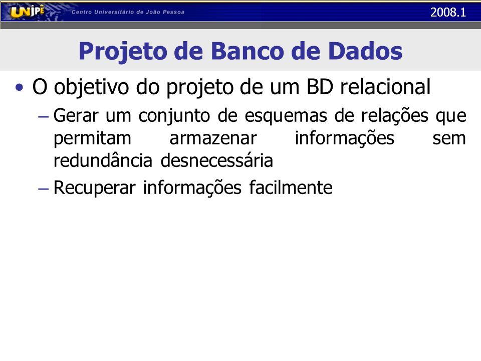 2008.1 Projeto de Banco de Dados O objetivo do projeto de um BD relacional – Gerar um conjunto de esquemas de relações que permitam armazenar informaç