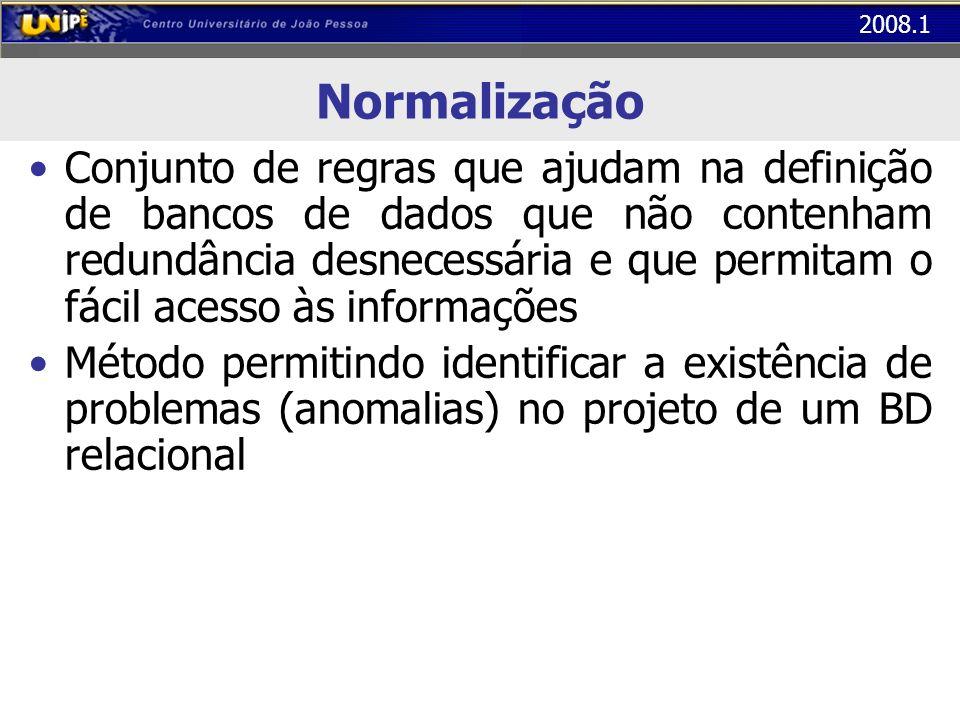 2008.1 Normalização Conjunto de regras que ajudam na definição de bancos de dados que não contenham redundância desnecessária e que permitam o fácil a