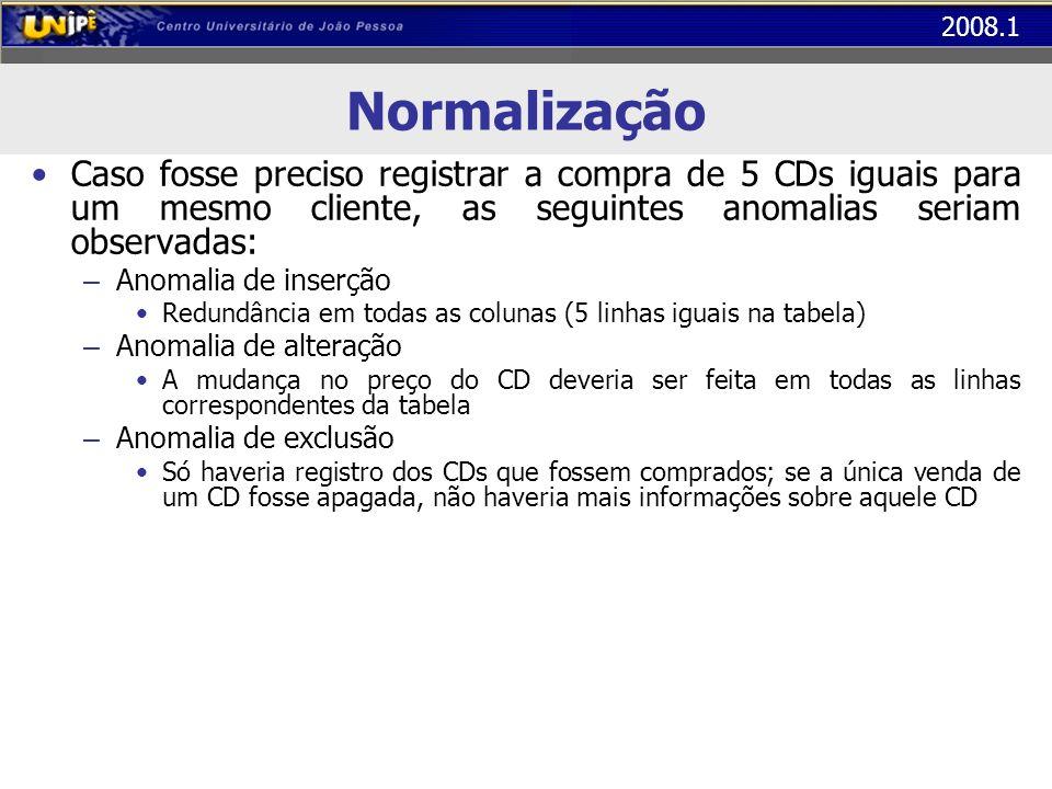 2008.1 Normalização Caso fosse preciso registrar a compra de 5 CDs iguais para um mesmo cliente, as seguintes anomalias seriam observadas: – Anomalia