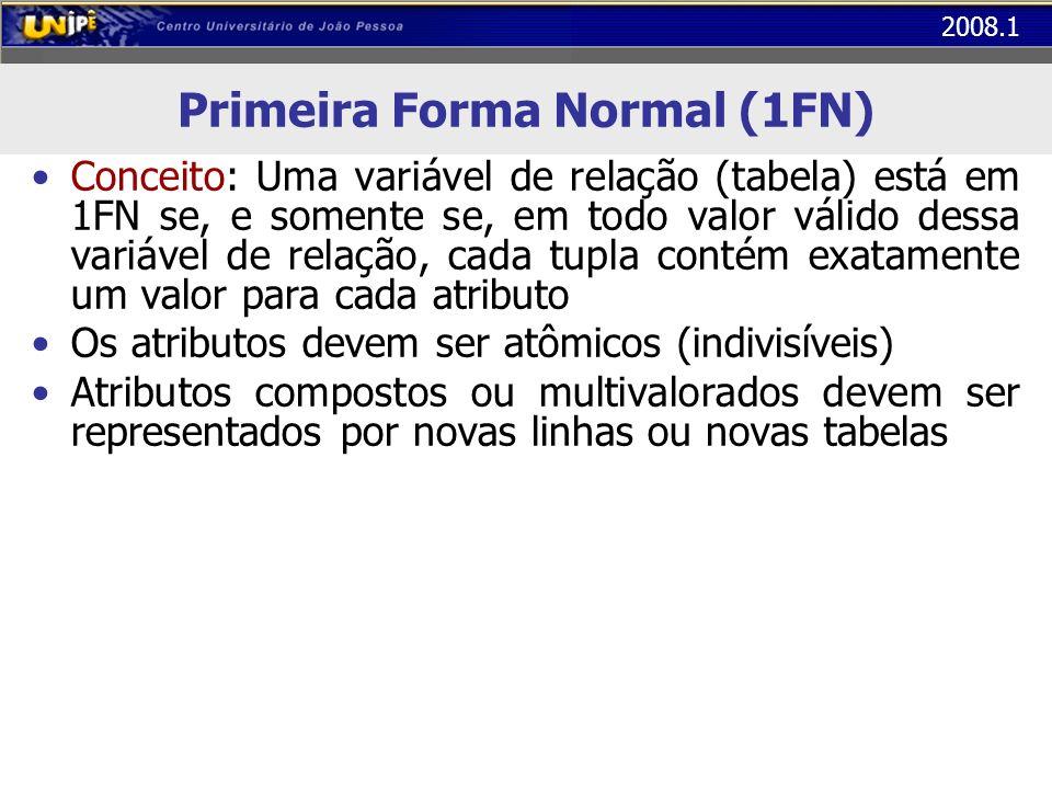 2008.1 Primeira Forma Normal (1FN) Conceito: Uma variável de relação (tabela) está em 1FN se, e somente se, em todo valor válido dessa variável de rel