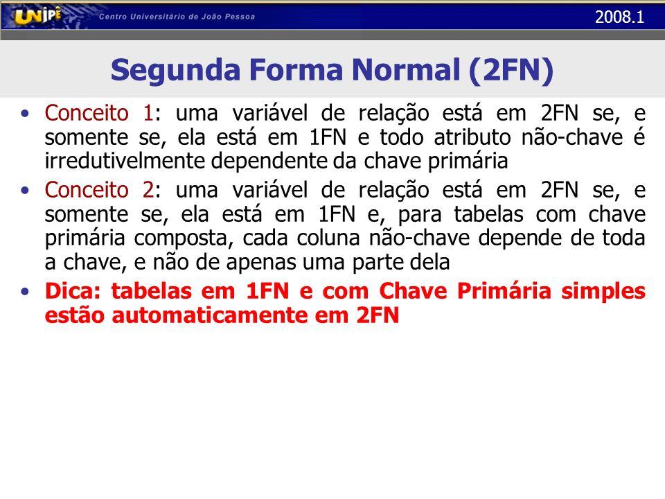 2008.1 Segunda Forma Normal (2FN) Conceito 1: uma variável de relação está em 2FN se, e somente se, ela está em 1FN e todo atributo não-chave é irredu