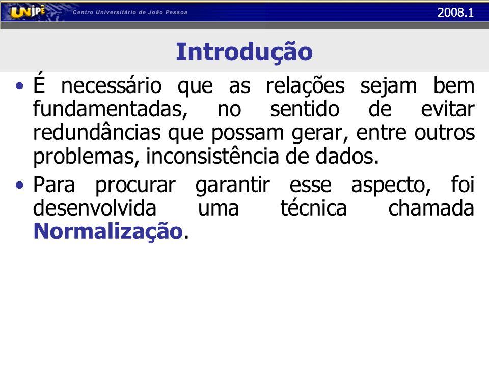 2008.1 Primeira Forma Normal (1FN) Exemplo: Tabela Controle de Faltas numa Escola A tabela abaixo não está na 1 FN Os atributos Aluno e Qte_Faltas não são atômicos (há mais de um valor para cada registro) COD_TURMAALUNOPROFESSORSALACAPACIDADEQTE_FALTAS BD1032 Alice Luna Juliano Camargo Márcio Andrade Bruno Pereira101 50 02 00 04...