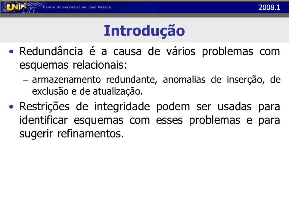 2008.1 Primeira Forma Normal (1FN) Passos para obtenção da 1FN em uma tabela – Identificar a chave primária da tabela – Identificar os atributos compostos ou multivalorados – Incluir uma coluna/linha para cada atributo composto/multivalorado
