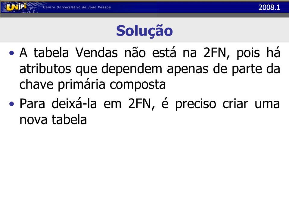 2008.1 Solução A tabela Vendas não está na 2FN, pois há atributos que dependem apenas de parte da chave primária composta Para deixá-la em 2FN, é prec