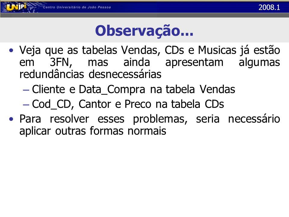 2008.1 Observação... Veja que as tabelas Vendas, CDs e Musicas já estão em 3FN, mas ainda apresentam algumas redundâncias desnecessárias – Cliente e D