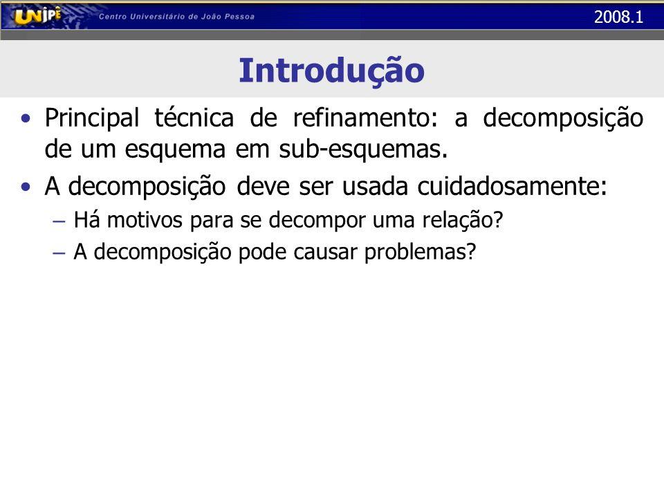 2008.1 Primeira Forma Normal (1FN) A tabela abaixo está na 1FN (atributos atômicos) O próximo passo é observar se ela está também na 2FN COD_TURMAALUNOPROFESSORSALACAPACIDADEQTE_FALTAS BD1032Alice LunaBruno Pereira1015002 BD1032Juliano CamargoBruno Pereira1015000 BD1032Márcio AndradeBruno Pereira1015004...