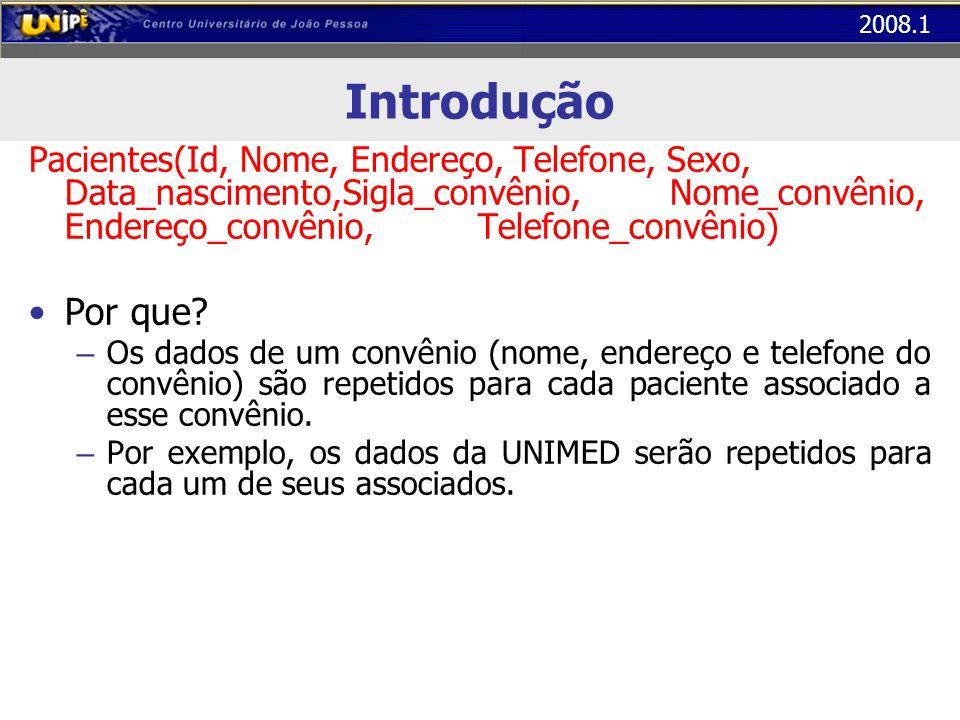 2008.1 Segunda Forma Normal (2FN) A tabela abaixo está na 1FN mas não está na 2FN Os atributos Professor, Sala e Capacidade dependem apenas de Cod_Turma (repetição para todos os alunos da turma) COD_TURMAALUNOPROFESSORSALACAPACIDADEQTE_FALTAS BD1032Alice LunaBruno Pereira1015002 BD1032Juliano CamargoBruno Pereira1015000 BD1032Márcio AndradeBruno Pereira1015004...