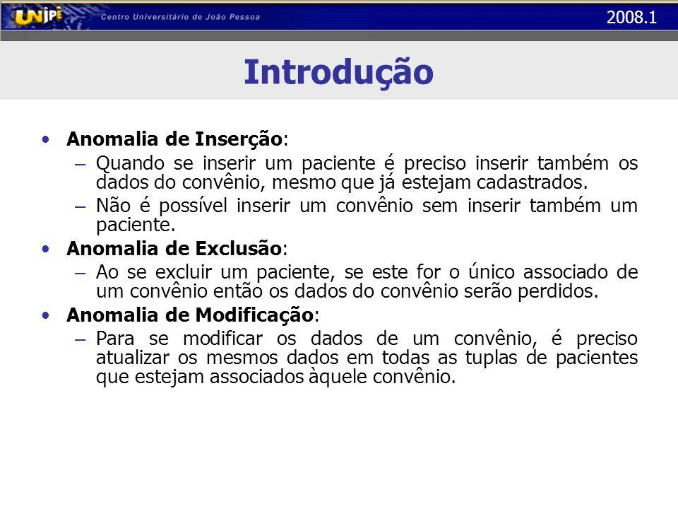 2008.1 Introdução Anomalia de Inserção: – Quando se inserir um paciente é preciso inserir também os dados do convênio, mesmo que já estejam cadastrado