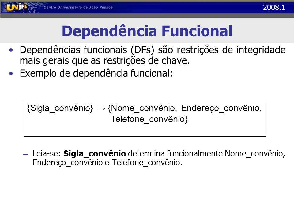 2008.1 Dependência Funcional Significado: Se duas linhas da tabela Pacientes tiverem o mesmo valor de Sigla_convênio, então elas tem de ter o mesmo valor de Nome_convênio, de Endereço_convênio e de Telefone_convênio.