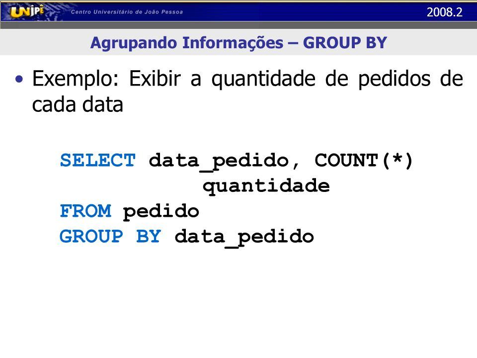 2008.2 Agrupando Informações – GROUP BY Exemplo: Exibir a quantidade de pedidos de cada data SELECT data_pedido, COUNT(*) quantidade FROM pedido GROUP
