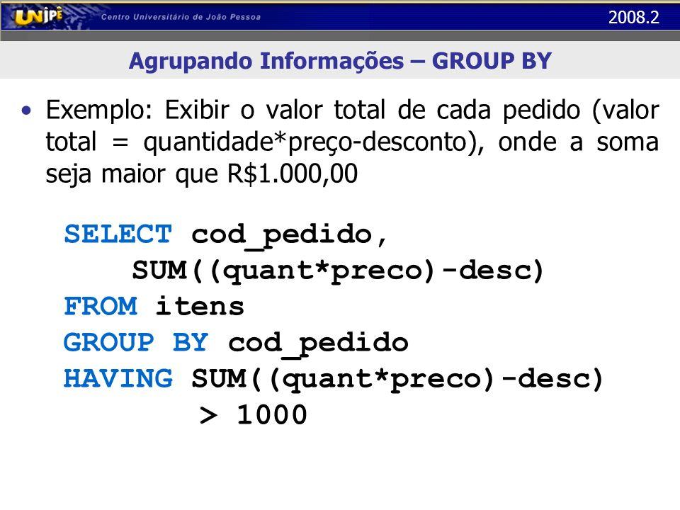 2008.2 Agrupando Informações – GROUP BY Exemplo: Exibir o valor total de cada pedido (valor total = quantidade*preço-desconto), onde a soma seja maior