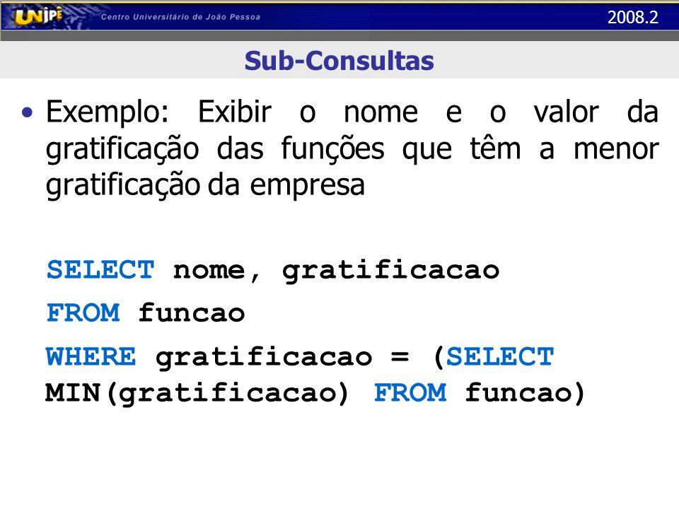 2008.2 Sub-Consultas Exemplo: Exibir o nome e o valor da gratificação das funções que têm a menor gratificação da empresa SELECT nome, gratificacao FR