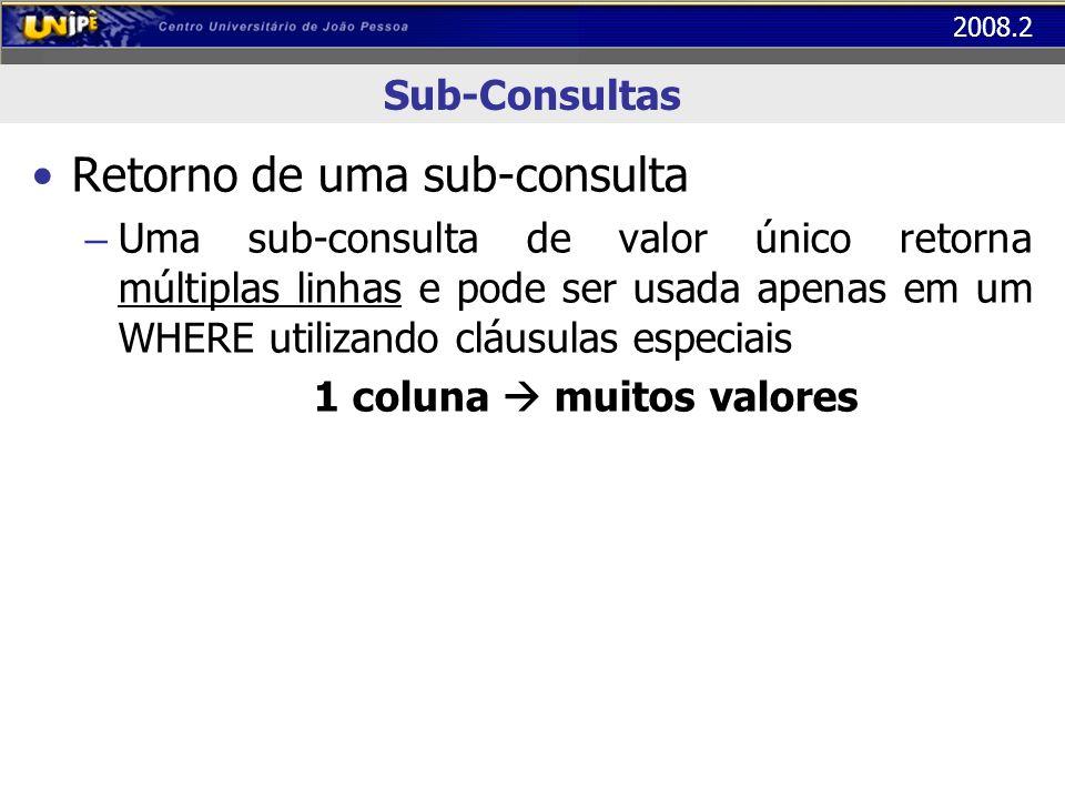 2008.2 Sub-Consultas Retorno de uma sub-consulta – Uma sub-consulta de valor único retorna múltiplas linhas e pode ser usada apenas em um WHERE utiliz