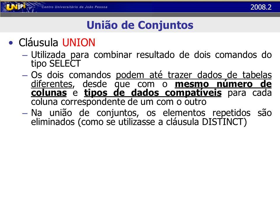 2008.2 União de Conjuntos Cláusula UNION – Utilizada para combinar resultado de dois comandos do tipo SELECT – Os dois comandos podem até trazer dados