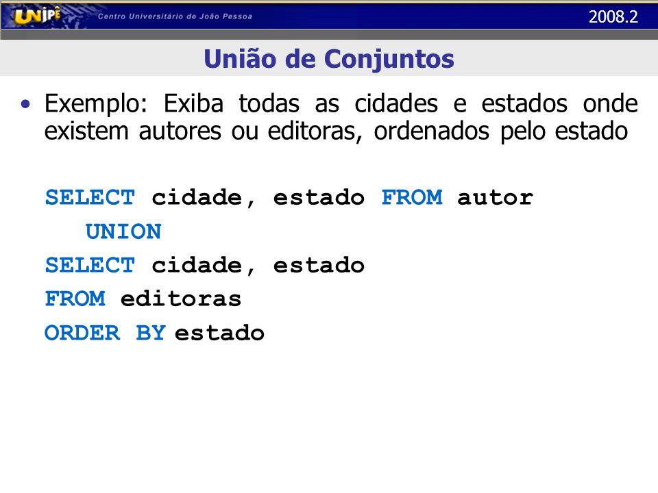 2008.2 União de Conjuntos Exemplo: Exiba todas as cidades e estados onde existem autores ou editoras, ordenados pelo estado SELECT cidade, estado FROM