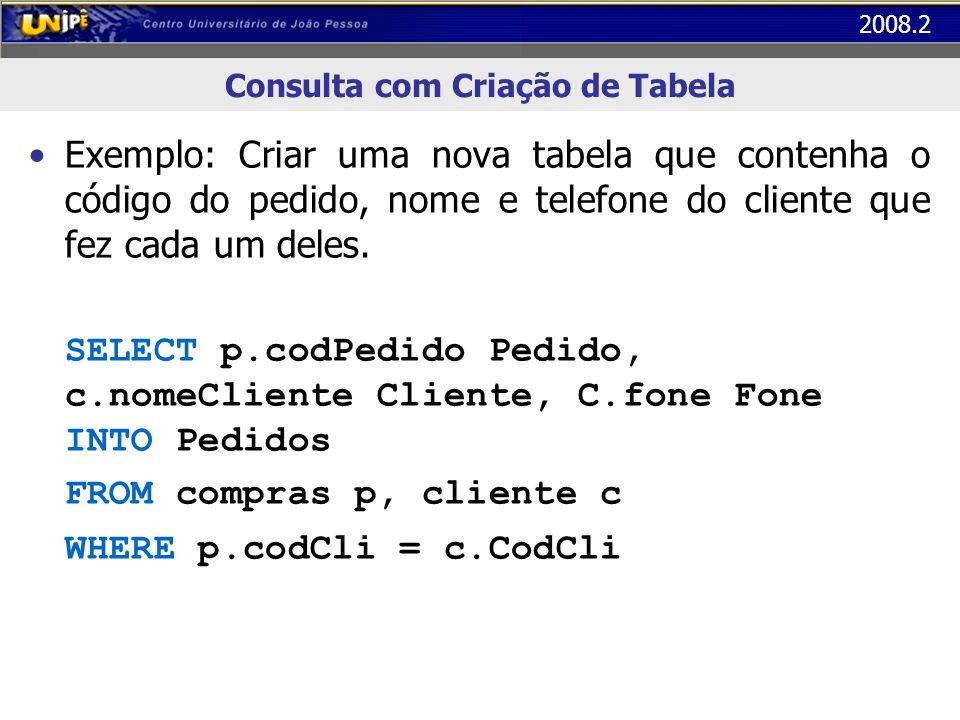 2008.2 Consulta com Criação de Tabela Exemplo: Criar uma nova tabela que contenha o código do pedido, nome e telefone do cliente que fez cada um deles