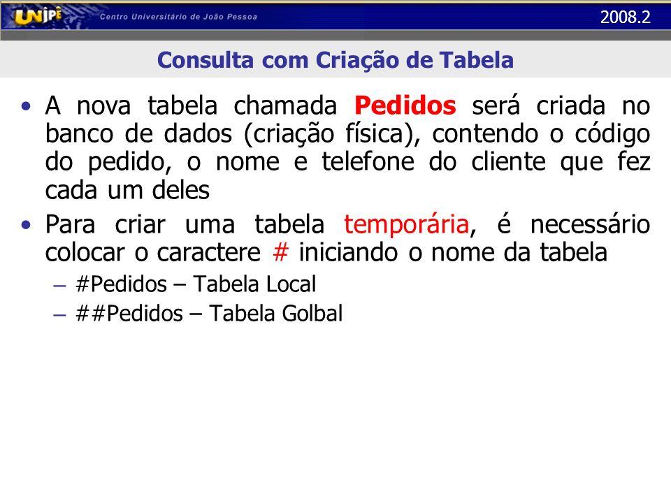 2008.2 Consulta com Criação de Tabela A nova tabela chamada Pedidos será criada no banco de dados (criação física), contendo o código do pedido, o nom