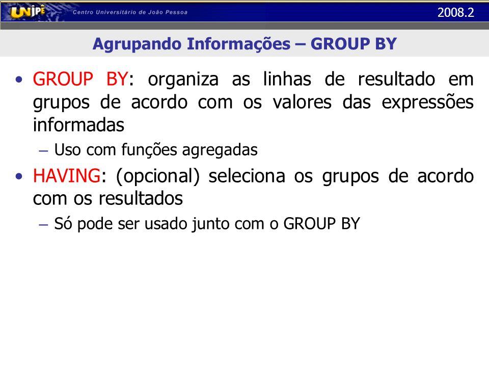 2008.2 Agrupando Informações – GROUP BY Exemplo: Exibir a quantidade de homens e mulheres na empresa SELECT sexo, count (*) FROM funcionário GROUP BY sexo