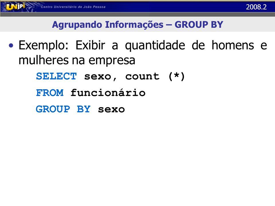 2008.2 Agrupando Informações – GROUP BY Exemplo: Exibir a quantidade de homens e mulheres na empresa SELECT sexo, count (*) FROM funcionário GROUP BY