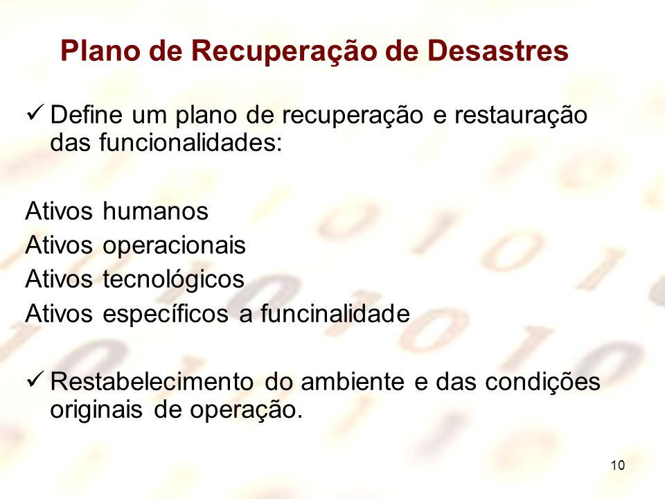 10 Plano de Recuperação de Desastres Define um plano de recuperação e restauração das funcionalidades: Ativos humanos Ativos operacionais Ativos tecno